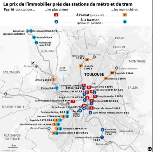 La carte des prix à proximité des stations de métro et de tram 2016